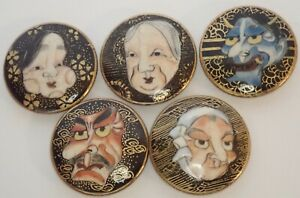 ANTIQUE JAPAN HAND PAINTED SATSUMA POTTERY NOH MASK BUTTON SET OF 5
