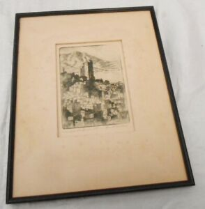 Nice Old Harriet Roudebush Signed Etching Tamalpais from Russian Hill $79.99