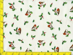 Small Christmas Birds amp; Holly on White Quilting amp; Sewing Fabric by Yard #3061 $5.95