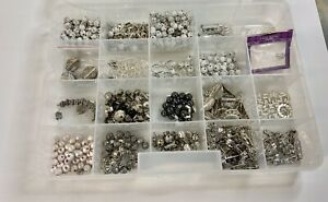 Lot Vintage of Container Of Beads Metal Pin backs Findings Jewelry Making $17.99