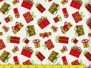 Red amp; Green Christmas Presents Quilting Sewing Fabric by Yard #3188 $5.95