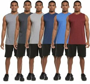 6 Pack: Mens Active Dry Fit Moisture Wicking Workout Sleeveless Athletic... $24.99