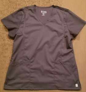 WOMANS EON GREY SCRUB TOP LARGE TWO POCKET SCRUBS EX COND GRAY BY MAEVN
