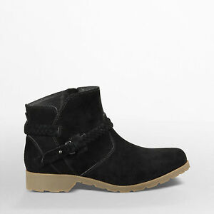 NEW* TEVA Delavina ANKLE BOOTS SHOES LEATHER 8.5 $120 Retail Black Suede $55.24