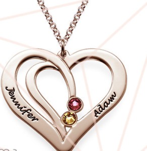 ENGRAVED COUPLES BIRTHSTONE NECKLACE IN ROSE GOLD GP