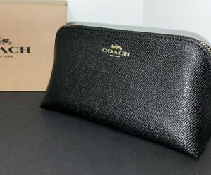 NWT Coach Cosmetic Case 17 Travel Makeup Pouch Crossgrain Leather Black F57857