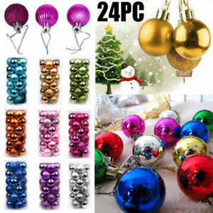 24× Christmas Xmas Tree Ball Bauble Home Party Ornament Hanging Decorations 30mm $6.97
