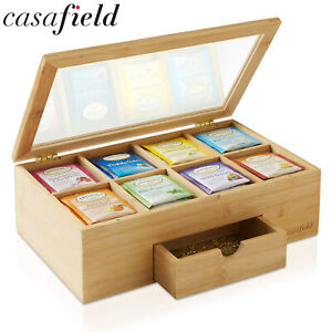 Bamboo Tea Box with Drawer Storage Chest for Tea Bags and Packets w Hinged Lid
