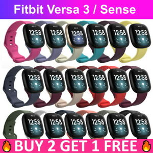 Replacement Silicone Rubber Sport Band Strap Wristband For Fitbit Sense Versa 3
