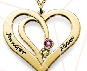 18K GOLD OVER STERLING SILVER ENGRAVED COUPLES BIRTHSTONE NECKLACE