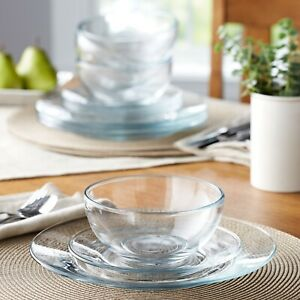12 Piece Round Clear Glass Dinnerware Set Dinner dishes New Free 2021 $59.99