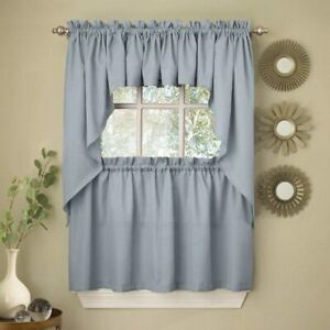 Lorraine Ribcord Solid Color Kitchen Tier Curtain Pair 54W x 36L Blue NWT $12.99