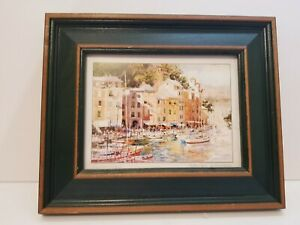 Marilyn Simandle Watercolor Art Print. Harbor view excellent framed Signed 9X12 $9.40