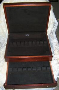 Vintage Wood Silverware Flatware Storage Chest w Drawer Holds 12 Place Settings $32.99