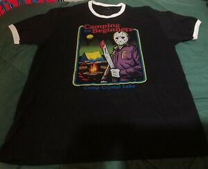 Friday The 13th Camping For Beginners Ringer Shirt Size XL NEW OFFICIAL
