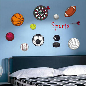 SPORTS BALLS pennant Kids Wall Stickers Decal Football Basketball Socc $7.94