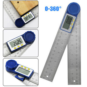 360° Portable Digital Protractor Angle Finder 0 200mm 8quot; Stainless Steel Ruler $13.98