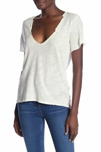 Free People Cream White Women#x27;s Size Medium M V Neck Lace Inset Top $58 715