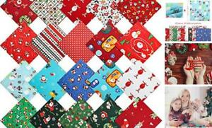 Christmas Cotton Fabric Bundles Sewing Square Fabric Scraps Printed Quilting Pat $18.75