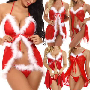 US Women Sexy Lingerie Red Babydoll Nightwear Santa Christmas Sleepwear G string $12.89
