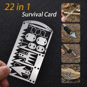 22 in 1 Multifunction Survival Tool Outdoor Camping Supplies Fishing Hook Card