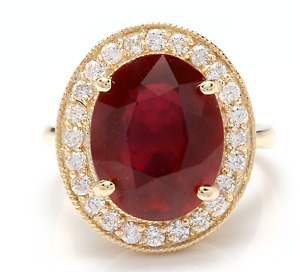 11.75 Carats Natural Red Ruby and Diamond 14K Solid Yellow Gold Ring