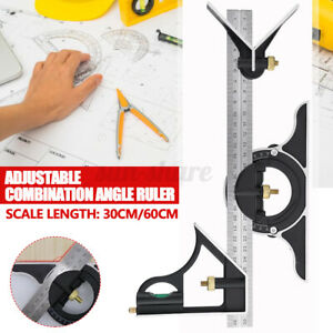 12#x27;#x27; 24#x27;#x27; Combination Tri Square Ruler Measuring Angle Tool Rule Protractor $22.99
