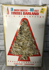 "Vintage Tinsel Garland Gold White 3"" Wide 18 Feet Long"