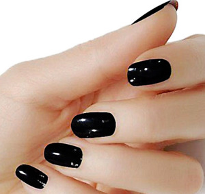 Black solid color wraps real nail polish strips street art M10 Free shipping $5.20
