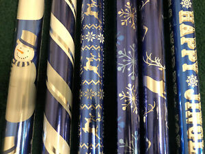 BLUE Shiny Foil Christmas Wrap Variety Pack 6 different themes ALL Blues NEW $29.99