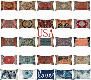 12x20quot; Cushion COVER White Double Sided Lumbar Decorative Sofa Throw Pillow Case $7.86