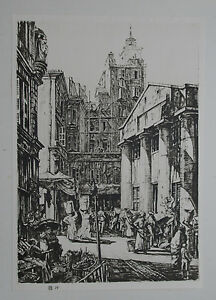 FISH MARKET MARSEILLES FRANCE: HENRY RUSHBURY 1928 LITHOGRAPHIC of Etching GBP 9.99