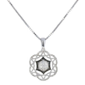 NEW .33ctw Round Cut Diamond Pendant Necklace Silver Floral Halo Adjustable