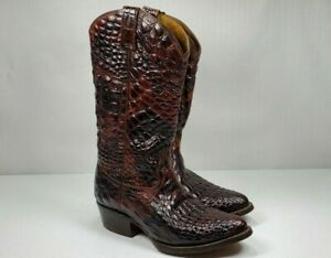 RUDEL ROGERS Full Western Alligator Cowboy Leather Boots Brown Men's 6.5 EE