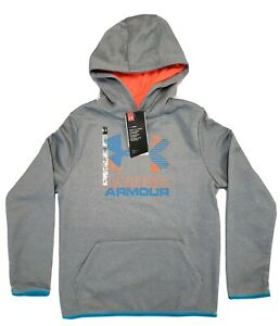 Boys Youth Under Armour ColdGear Gray Orange Hoodie Size M $25.55