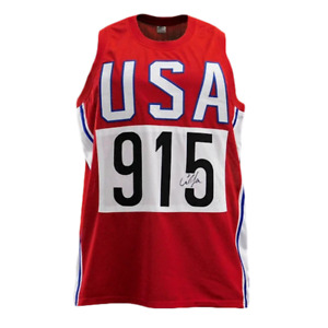 Carl Lewis Signed USA Competitor Red Jersey JSA $39.95