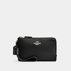 COACH DOUBLE CORNER ZIP WALLET IN POLISHED PEBBLE LEATHER F87590 VARIOUS COLORSS
