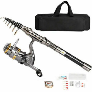 Telescopic Fishing Rod Spinning Pole Reel Combo Full Kit With 100M Line amp; Bag