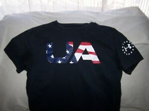 Boys Under Armour Black Short Sleeve FLAG Shirt Large LOOSE FIT $6.65