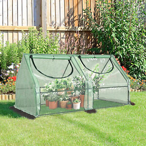 Large Outdoor Installable Green Hot House w Steel Buriable Beams for Support $45.99