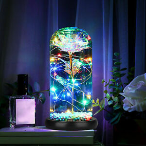 Rose Flower Crystal Colorful In the Glass Dome LED Light Gift for Girlfriend Mom $39.07