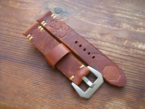 Handmade Brown Peach Pale Orange Thick Embossed Rough Leather Watchstrap 20mm GBP 15.00