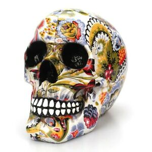 Resin Color Flower Painting Human Skull Home Decor Modern Sculptures Statues $37.99
