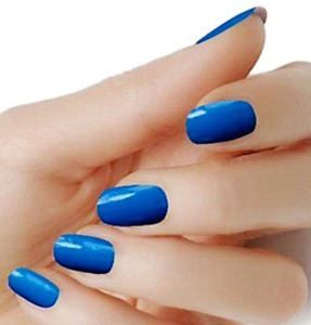 Blue solid color wraps real nail polish strips street art M19 Free Shipping $5.20
