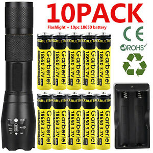 Zoom T6 LED Flashlight Li ion Battery Rechargeable Batteries US Dual Charger