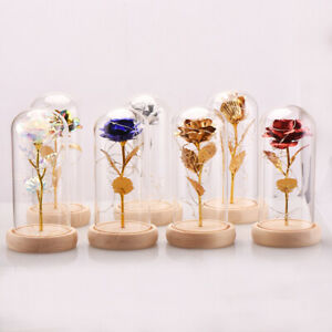 Crystal Colorful Gold Rose Flower in glass dome LED Valentine#x27;s Romantic Gift $15.19