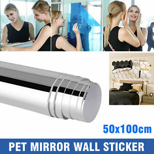 19.7x39.4 IN Self Adhesive Mirror Reflective Tiles Wall Stickers Film Paper Gift $12.48
