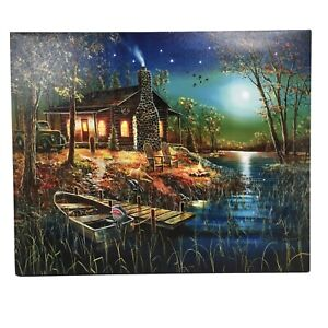 Lake Cabin Fishing Truck Lighted LED Canvas Picture Art Home Timer 17 x 13.75