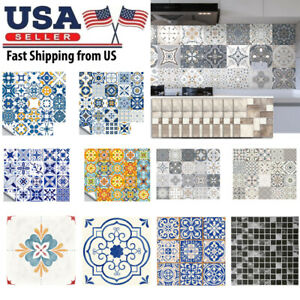 Retro Floor Tile Kitchen Wall Stickers Mosaic Self adhesive Waterproof PVC Decal $10.87