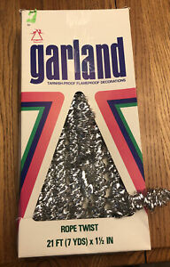Vintage Tinsel Rope Twist Garland Christmas Tree National Mfg SILVER 7 YDS